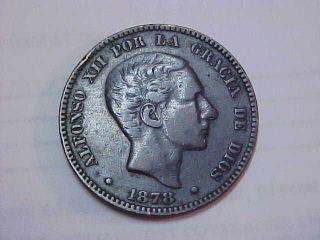 1878 Spanish - Puerto Rico 10 Centimos Coin photo