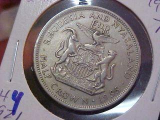 1955 Rhodesia & Nyasaland 1/2 Crown Coin photo