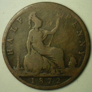1872 Bronze Half Pence Uk Half Penny Britain Coin Yg photo