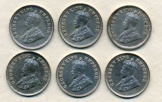 6 X India I/12 Th Annas 1915 To 1928 Silvered. photo
