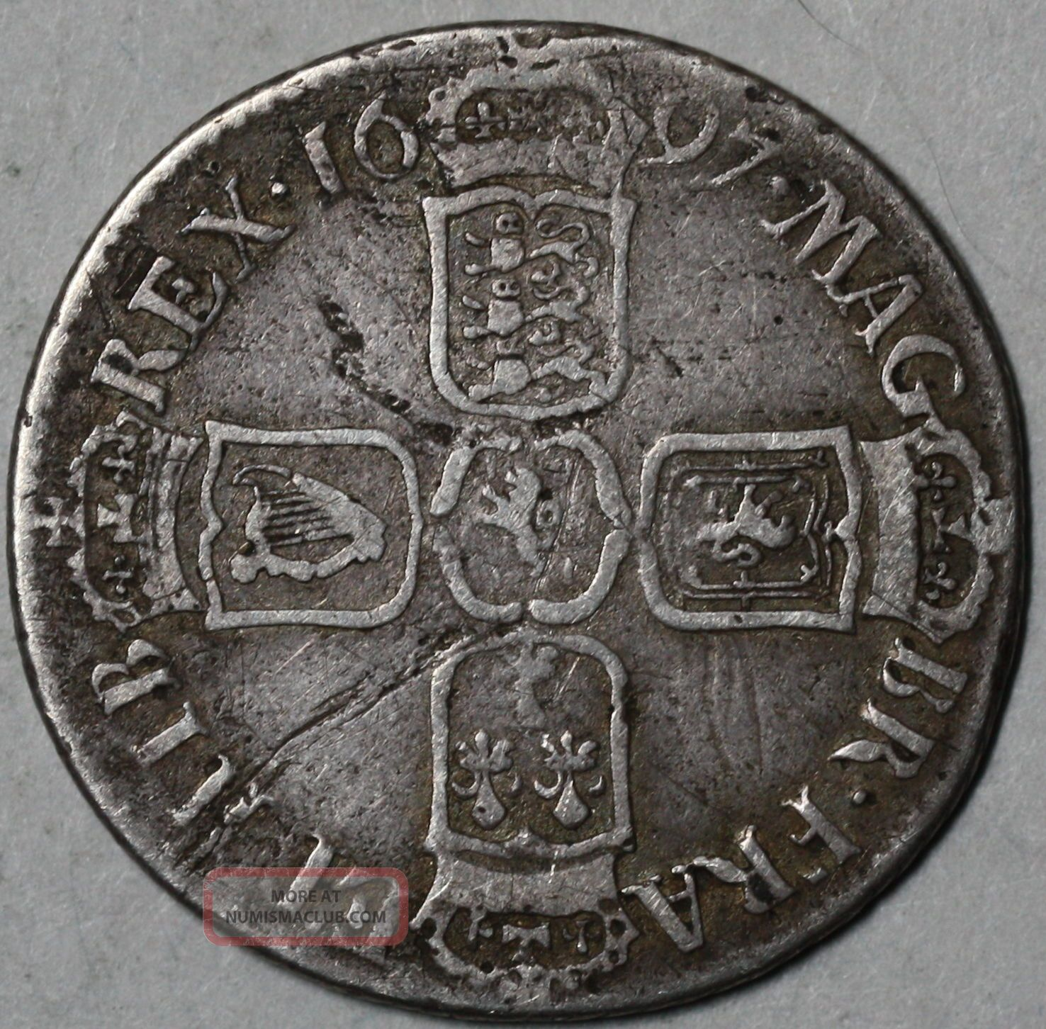 1697 B William Iii Bristol Silver Shilling Colonial