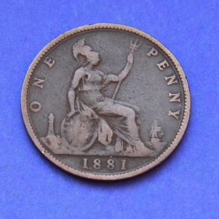 1881 Great Britain Uk Coin One Penny Queen Victoria photo