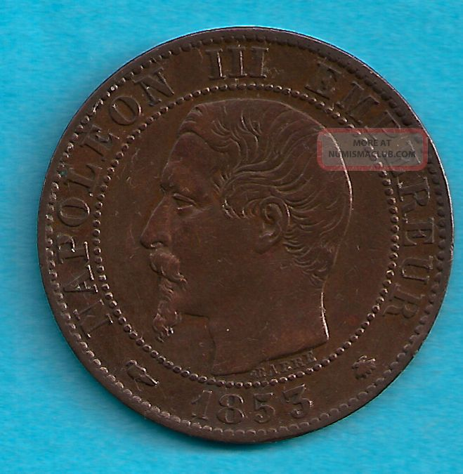 France 1853 Bb Cinq Centimes Scarce Date Europe photo