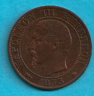 France 1853 Bb Cinq Centimes Scarce Date photo