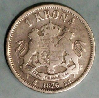 Sweden Krona 1876 St Fine Plus Silver Coin photo