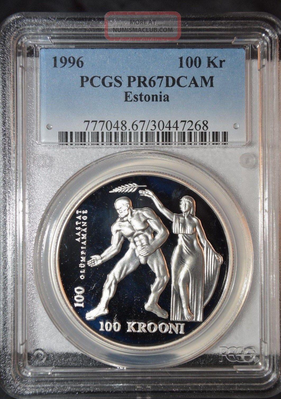 Estonia 1996 Silver 100 Krooni Summer Olympics Pcgs Pr67 Deep Cameo Scarce Europe photo