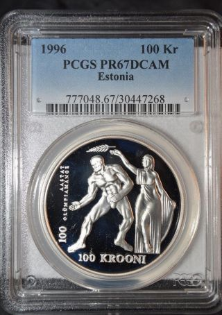 Estonia 1996 Silver 100 Krooni Summer Olympics Pcgs Pr67 Deep Cameo Scarce photo