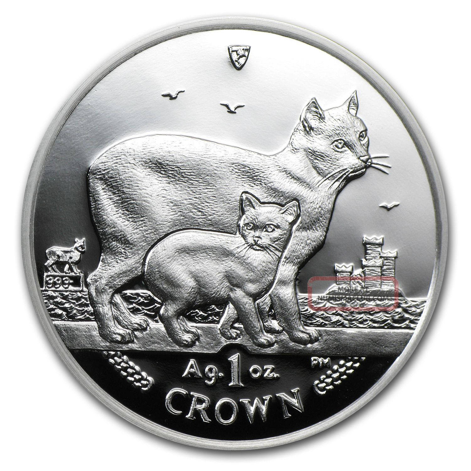 2012 Isle Of Man 1 Crown Proof Silver Manx Cat Coin - Sku 68227 Coins: World photo