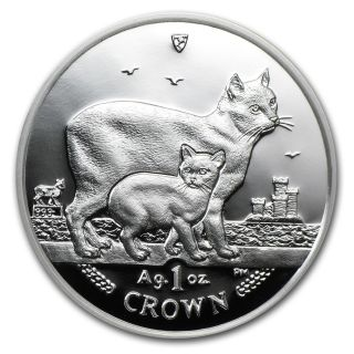 2012 Isle Of Man 1 Crown Proof Silver Manx Cat Coin - Sku 68227 photo