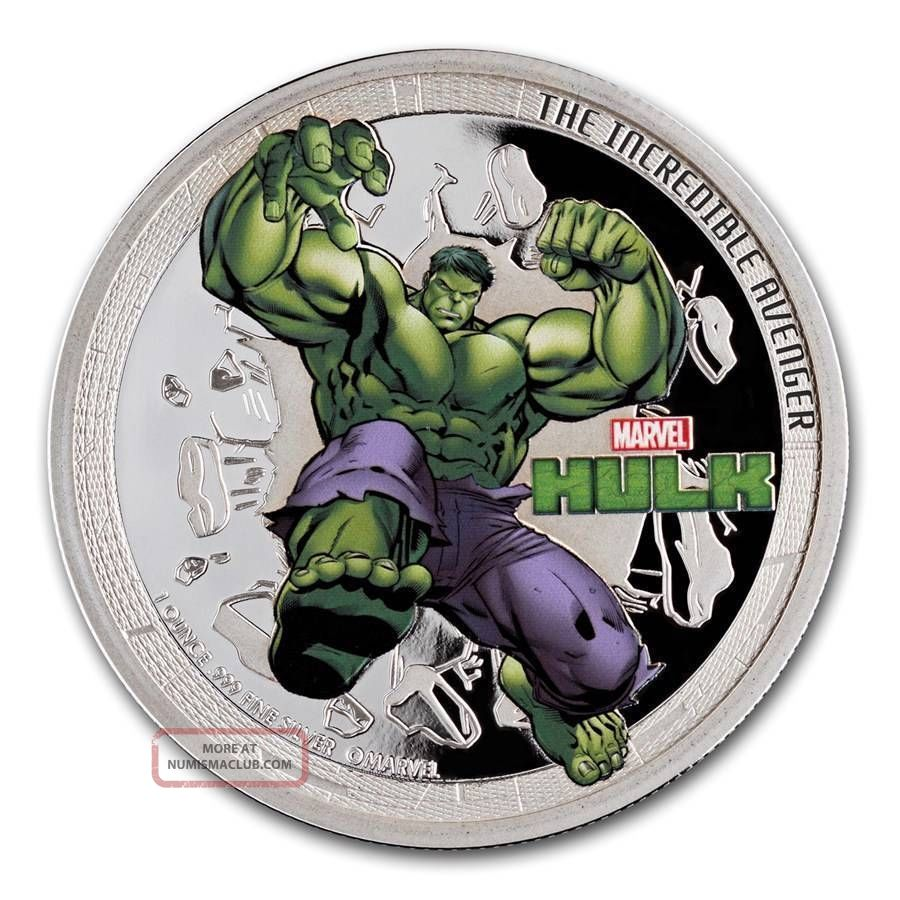 2014 Niue 1 Oz Silver Marvel Avengers Incredible Hulk