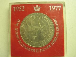 1977 Queen Elizabeth Ii Silver Jubilee Crown Royal Plastic Case Unc photo