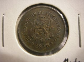 1918 Luxembourg 5 Centimes Wwi Iron Coin Km 30 photo