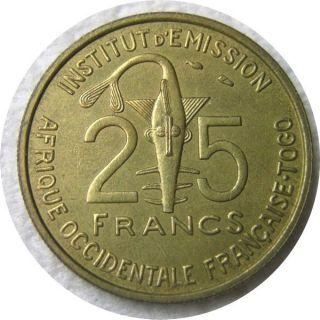 Elf French West Africa Togo 25 Francs 1957 Rhim Gazelle photo