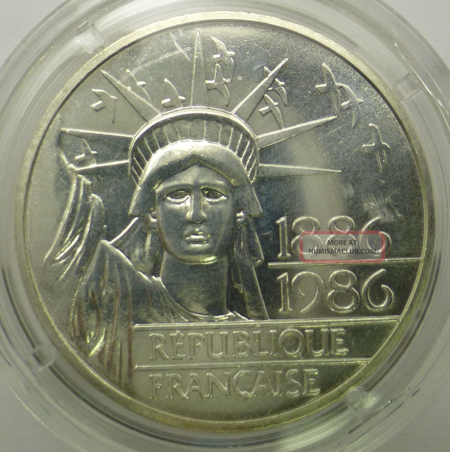"1886 - 1986 100 Francs ""statue Of Liberty"" 100th Anniversary 90 Piedford Silver Coins: World photo"