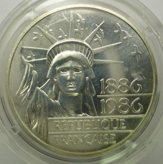 "1886 - 1986 100 Francs ""statue Of Liberty"" 100th Anniversary 90 Piedford Silver photo"
