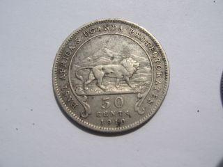 1910 British East Africa 80 Silver 50 Cent Coin Kenya Uganda Zanzibar Tanzania photo