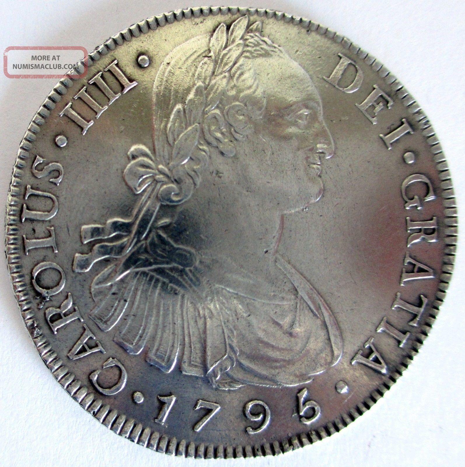 Carolus Iiii Dei Gratia 1795 Hispan Et Ind Rex Ng 8r M Silver Coin