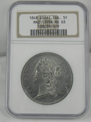 1848 France 5 Franc (essai) Maz - 1299a Ngc Ms63 photo