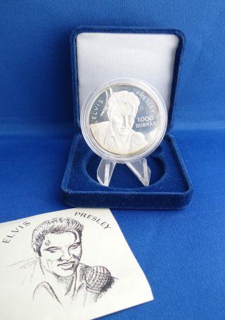 1993 S.  Tome E.  Principe 1000 Dobras Silver.  925 Elvis Presley Coin photo