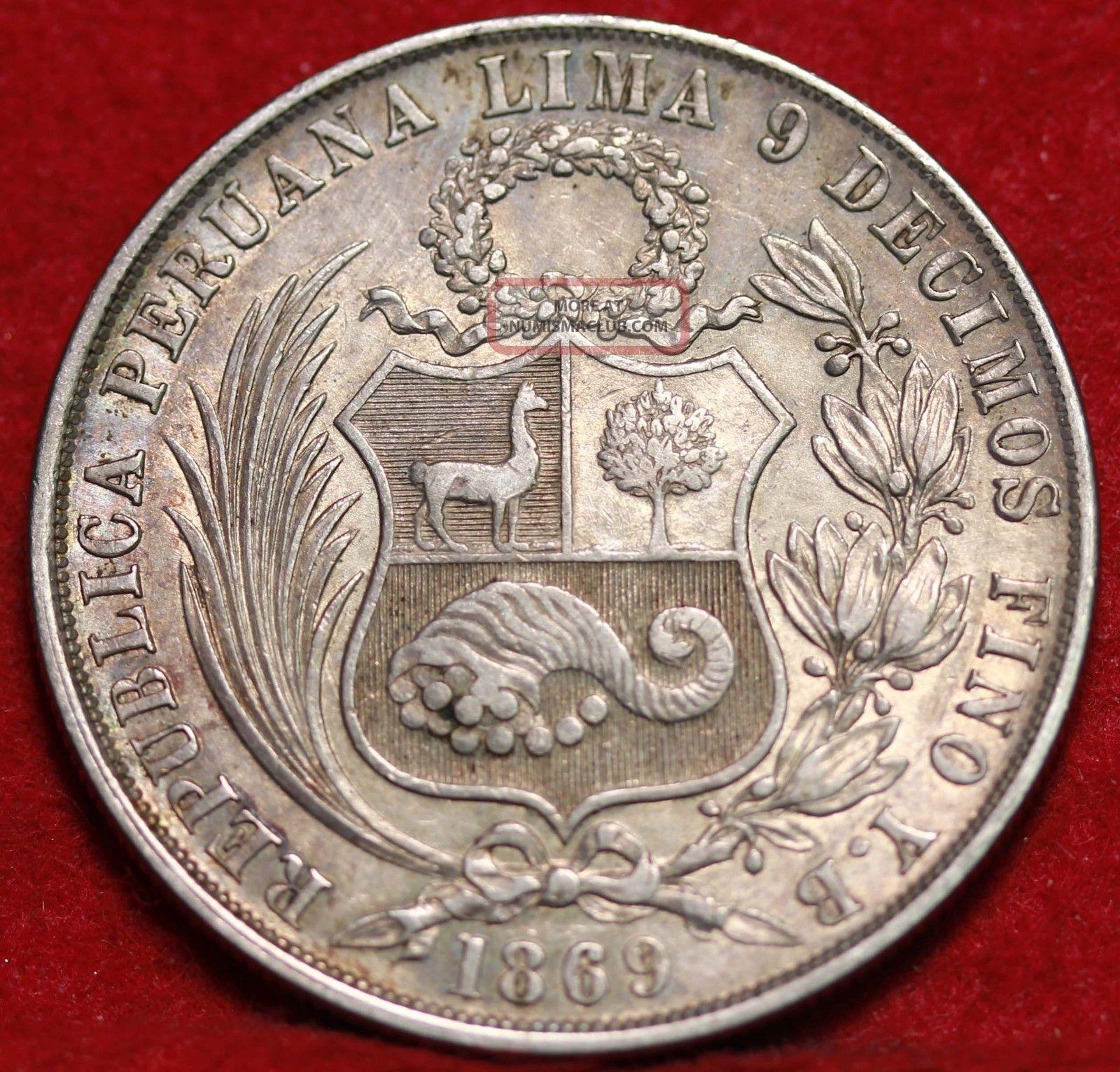 1869 Peru Un Sol Foreign Coin S H
