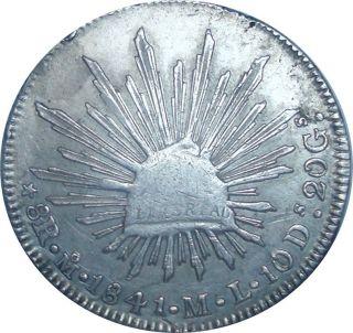 1841 Mexico City 8 Reales Mo.  M.  L.  - Rare Silver Coin In photo