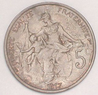 1917 France French 5 Centimes Republic Wwi Era Coin Vf, photo