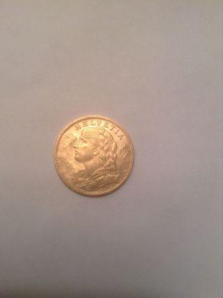 1927 Switzerland 20 Francs Helvetia Gold Coin photo