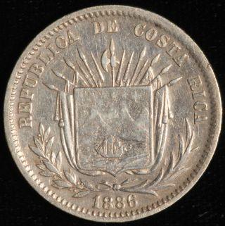Costa Rica,  25 Centavos.  1886 Gw.  Km 127.  2. photo