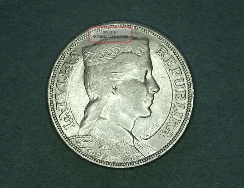 1931 - Latvia - 5 Lati - Rare Silver Xf,  Coin