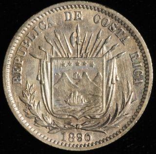 Costa Rica,  25 Centavos.  1890 H.  Km 130. photo