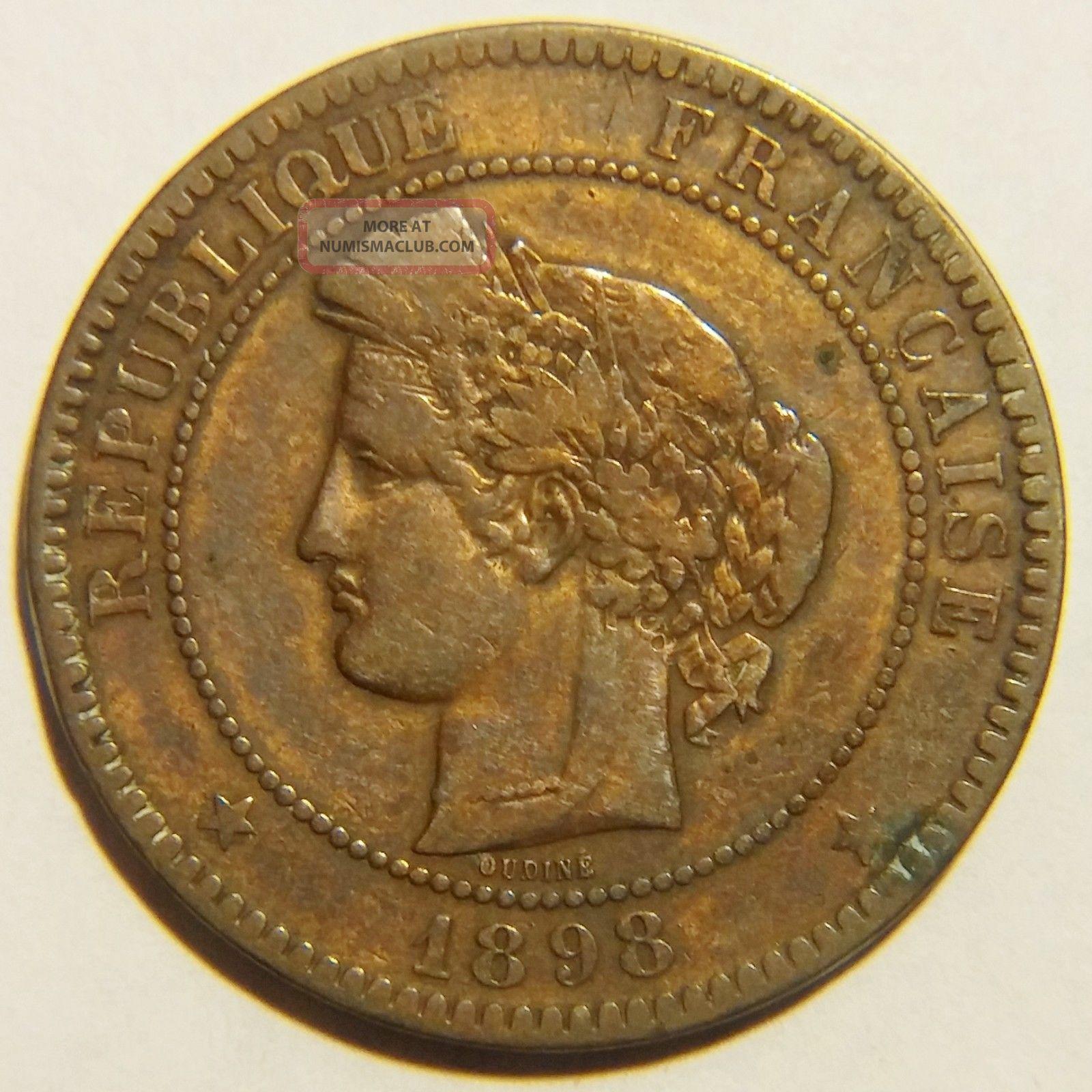 Rare 1898 - A France 10 Centimes Km 815.  1 Very Fine Europe photo