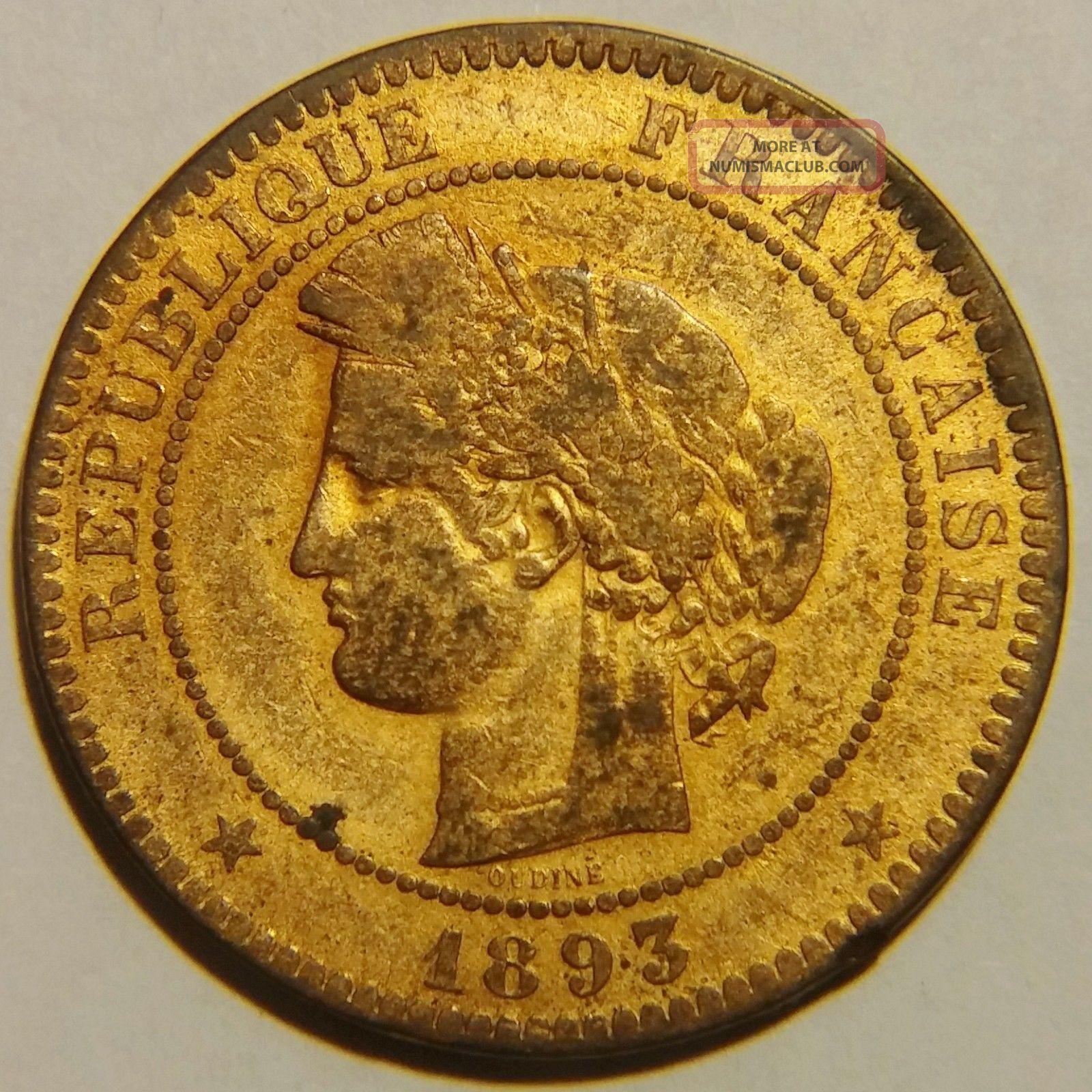 Rare 1893 - A France 10 Centimes Km 815.  1 Very Fine Europe photo