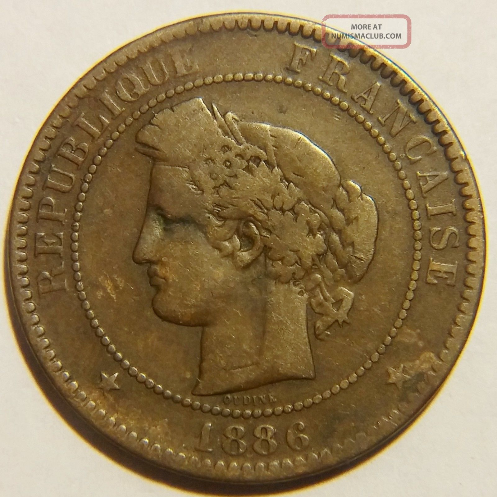 Rare 1886 - A France 10 Centimes Km 815.  1 Very Fine Europe photo
