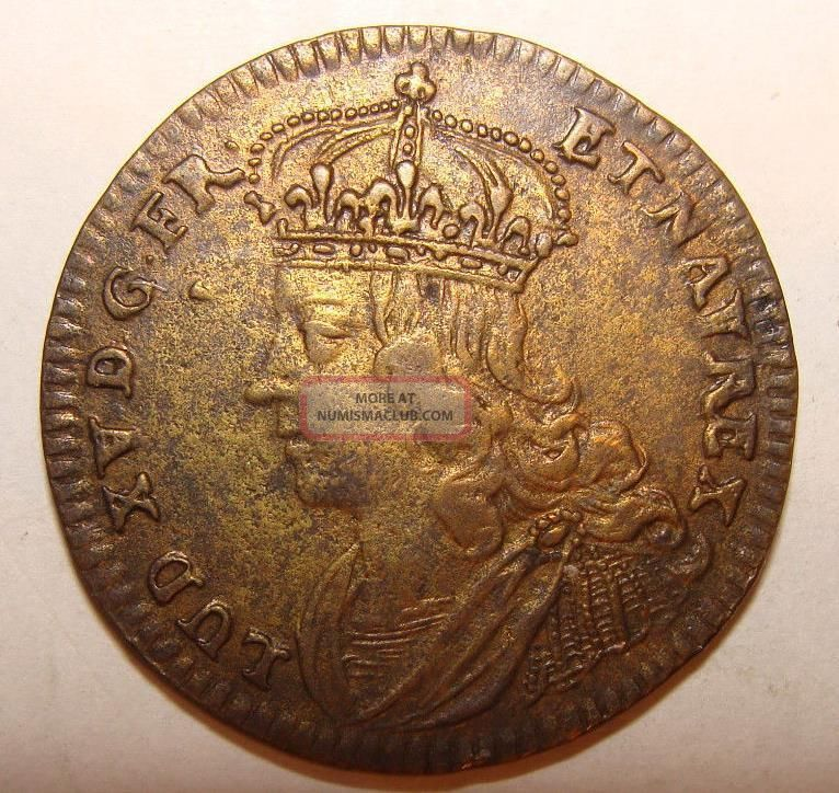 C 1750 French Gilt Jeton - Lud Louis Xv - Sol Invictus With Slain Winged Dragon Europe photo