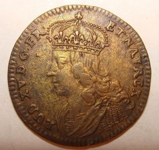 C 1750 French Gilt Jeton - Lud Louis Xv - Sol Invictus With Slain Winged Dragon photo
