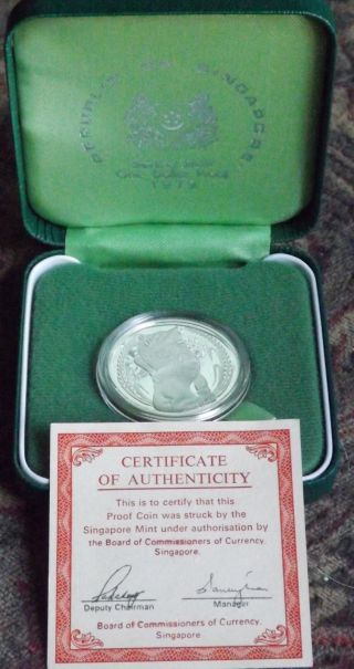 1979 Singapore $1 Silver Proof Coin & & Box.  925 Silver photo