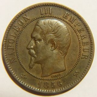 Rare 1856 - B France 10 Centimes Km 771.  2 Very Fine photo