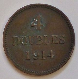 Circulated 1914 Guernsey - 4 - Doubles Coin photo