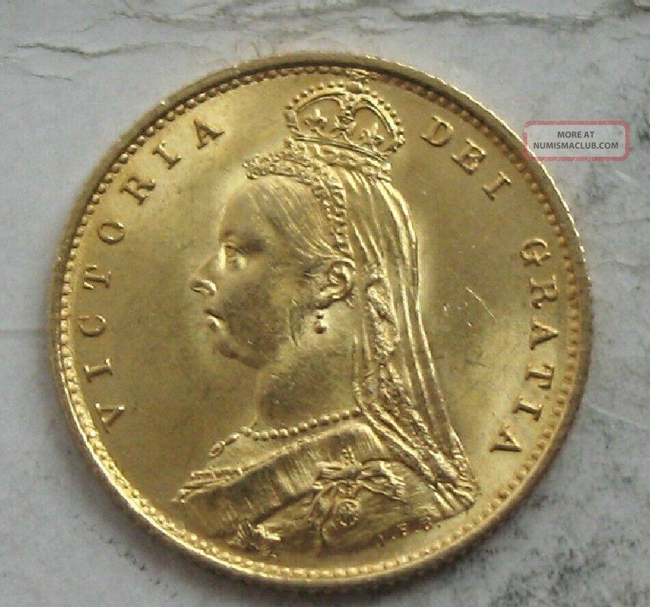 1887 Great Britain Victoria Jubilee Gold 1 2 Sovereign Ch Gem Bu