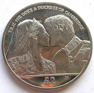 South Georgia 2012 Royal Wedding 2 Pounds Crown Coin,  Unc photo