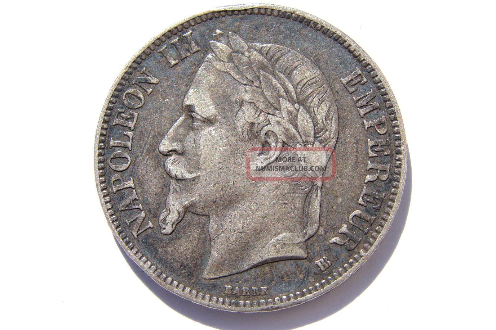 1868 Bb France Silver 5 Francs Vf Toning Europe photo