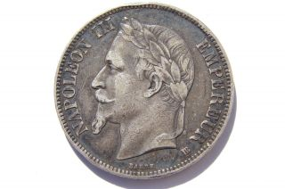 1868 Bb France Silver 5 Francs Vf Toning photo