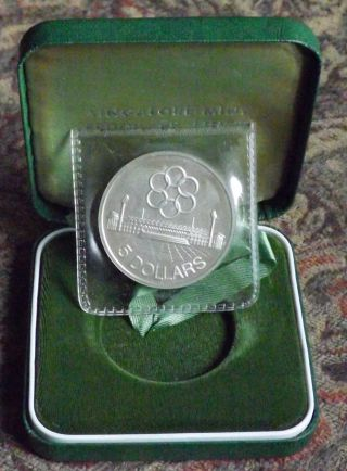 1973 Singapore $5 Proof Silver Southeast Asia Peninsular Games photo