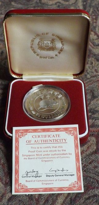 1984 Singapore Rat $10 Silver Proof Coin & Box.  500 Silver photo