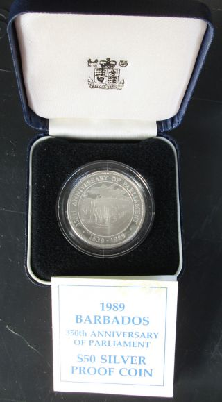 1989 Barbados 50 Dollars 350th Anniversary Of Parliament Sterling Silver Proof photo