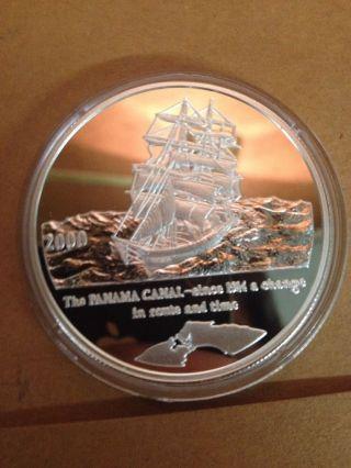 2000 1 Oz Silver Coin 10 Francs Republique Democratique Du Congo Panama Canal photo