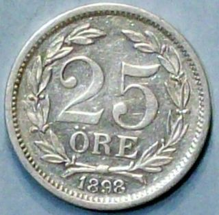 Sweden 25 Ore 1898 Eb Very Fine Silver Coin photo