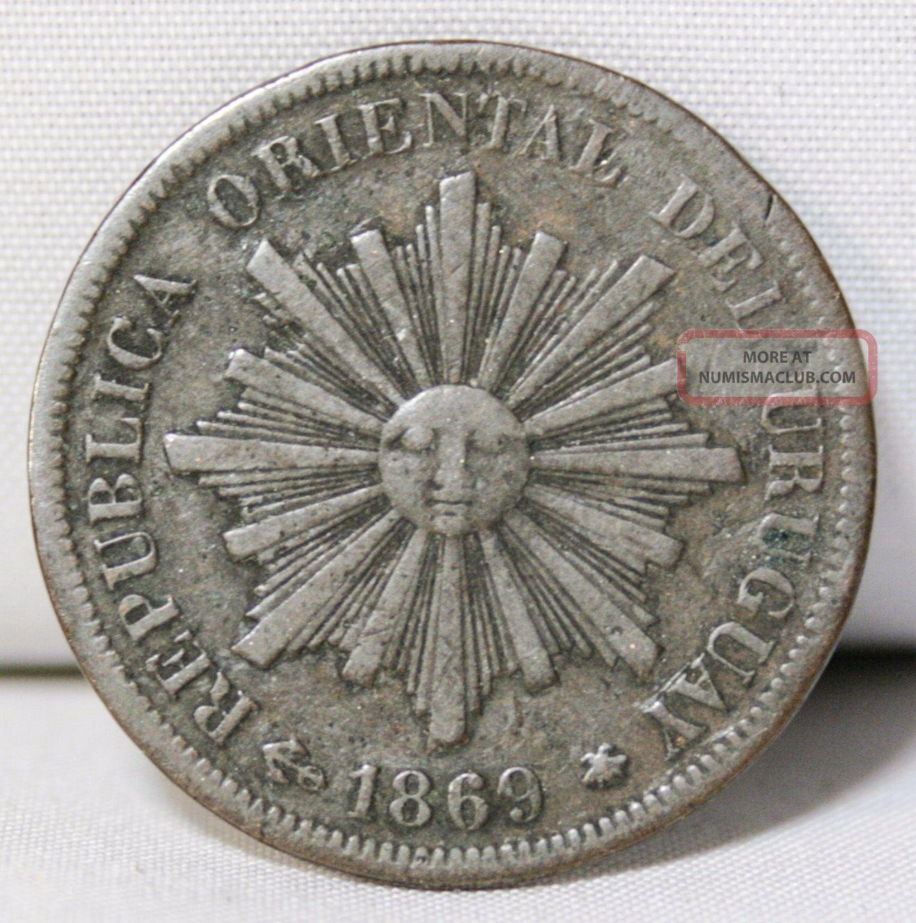 1869 H Republica Oriental Del Uruguay 4 Centesimos Bronze Coin South America photo