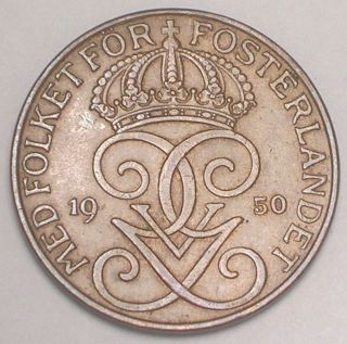 1950 Sweden Swedish 5 Ore Crown Monogram Coin Vf, photo