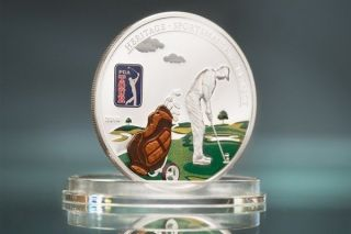 Cook 2014 Tour - Golf Bag 5 Dollars Colour Silver Coin,  Proof photo